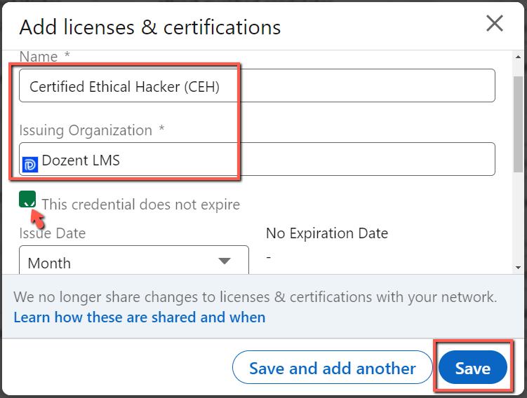 add certificate to linkedin