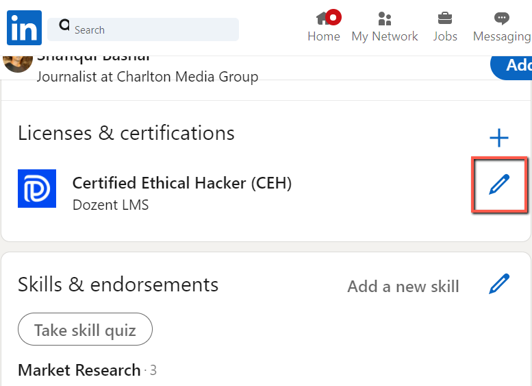 certificate edit option of linkedin