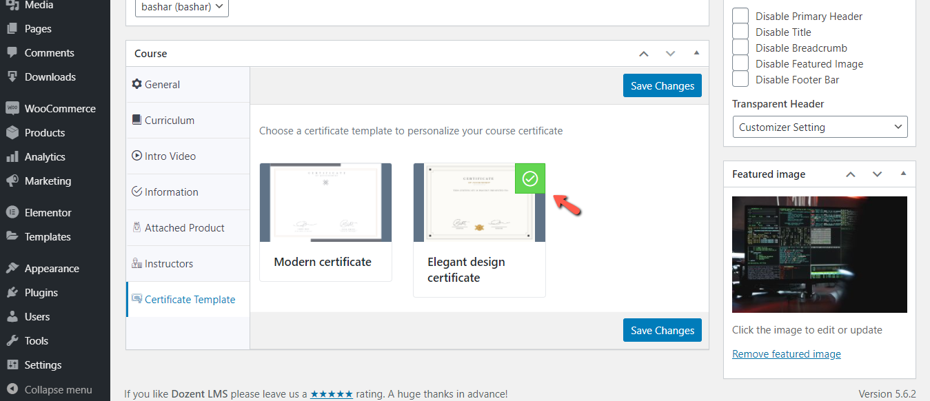 Select specific certificate template for a particular Dozent LMS course