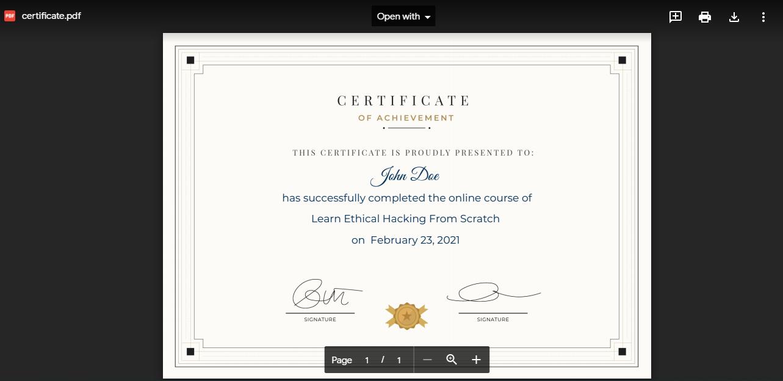 proof of certificate