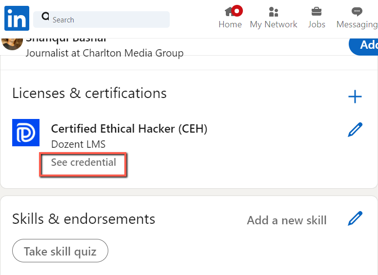see credential option on linkedin