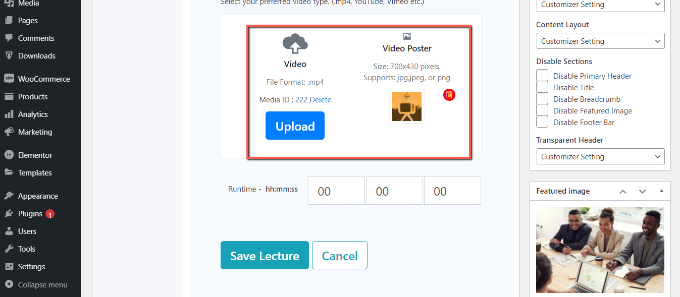 Upload video and poster