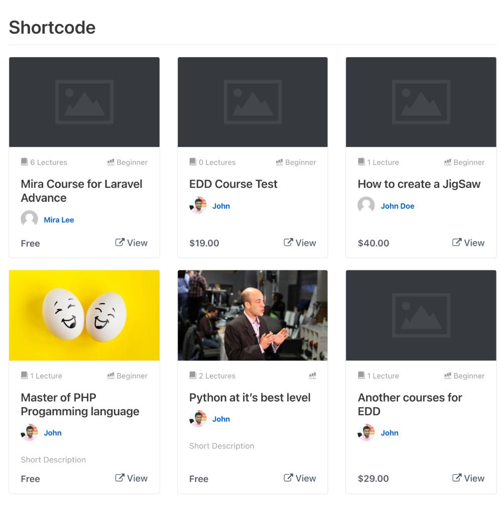 Dozent LMS courses list shortcode preview